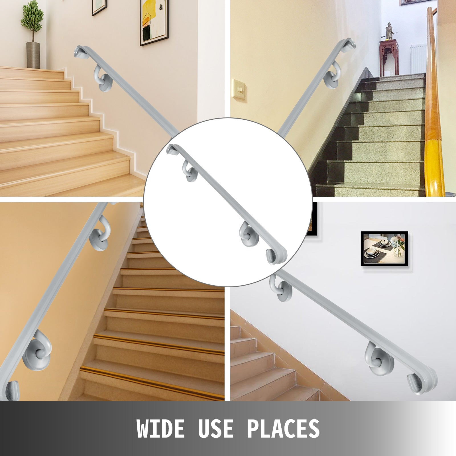 Four Step Stair Handrail For Stairs Wall Mount Stair Rail For Outdoor Steps