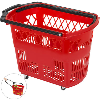 1pcs Red Shopping Basket 21x13.2x14.3in Lightweight Convenience Store Durable