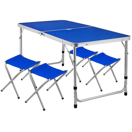 Portable Folding Picnic Camping Set Bbq Party Aluminium Table+4 Foldable Chairs