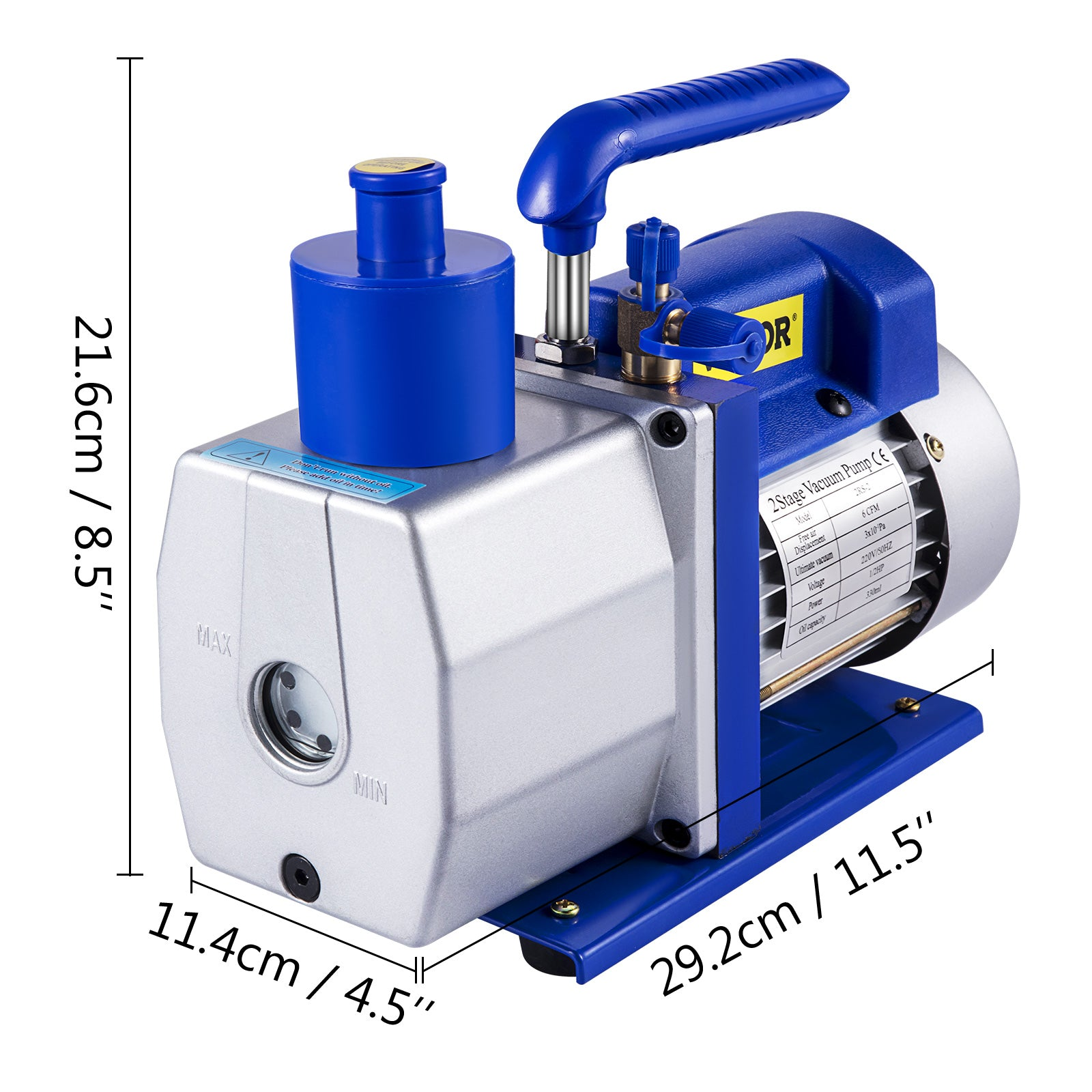 1.8cfm 1 Stage Refrigerant Vacuum Pump 220v Cast Aluminum Air Conditioning
