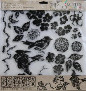 IOD - Iron Orchid Designs - Decor Stamp - Birds Branches Blossoms