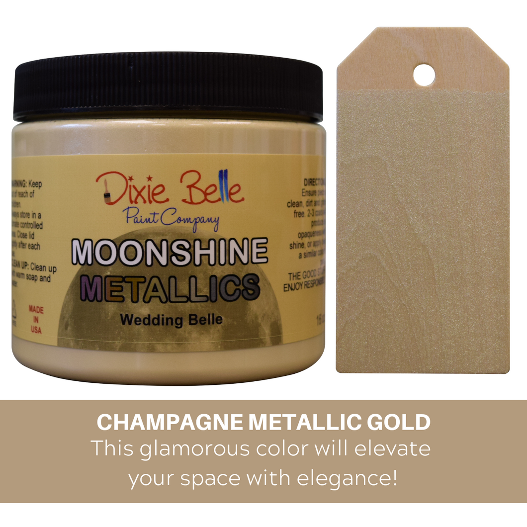 Dixie Belle Moonshine Metallic Chalk Mineral Paint - 16 oz.- Wedding Belle - NEW