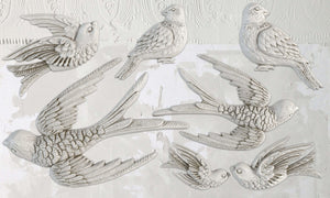 IOD - Iron Orchid Designs - Silicone Decor Mould - Birdsong - Birds in Flight, perched, and resting and sitting birds