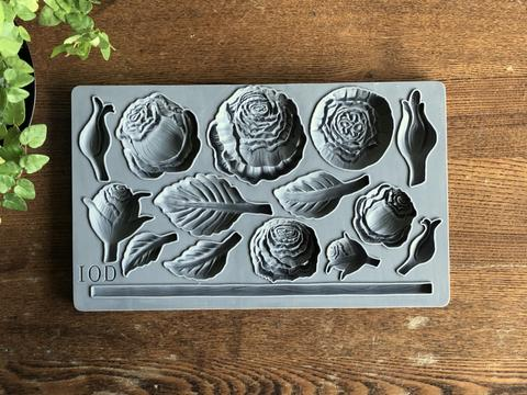 IOD - Iron Orchid Designs - Silicone Decor Mould - Heirloom Roses - roses, stem, and leaves