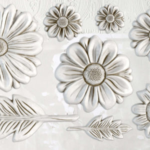 IOD - Iron Orchid Designs - Silicone Decor Mould - He Loves Me - Daisies - Sunflower - Leaves