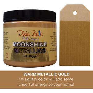 Dixie Belle Moonshine Metallic Chalk Mineral Paint - Gold Digger - 16 oz. NEW