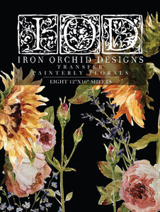 IOD - Iron Orchid Designs - Decor Transfer - PAINTERLY FLORALS - New