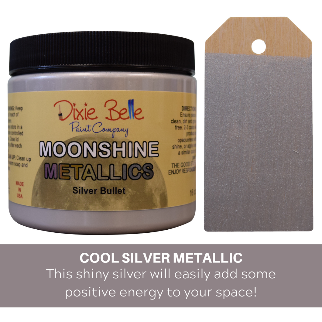 Dixie Belle Moonshine Metallic Chalk Mineral Paint - 16 oz.- Silver Bullet - NEW