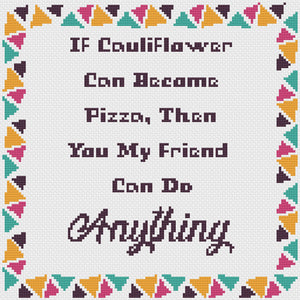 Cauliflower Pizza: Counted Cross Stitch Pattern and Kit - Stitch Wit