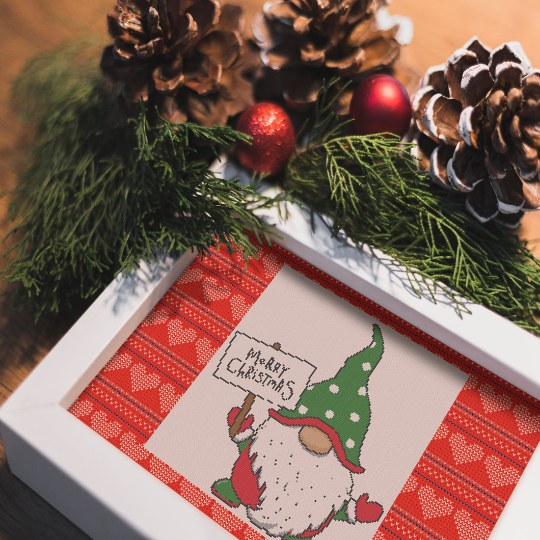 Christmas Gnome: Counted Cross Stitch Pattern and Kit
