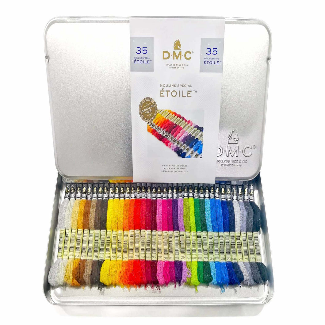 DMC Floss 35 Étoile Colours in a Silver Tin - Stitch Wit