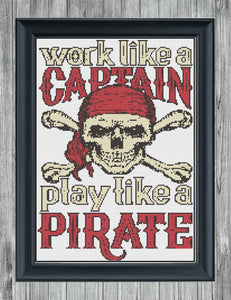 Work Like A Captain: Counted Cross Stitch Pattern and Kit - Stitch Wit