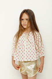 Cherry printed cotton top