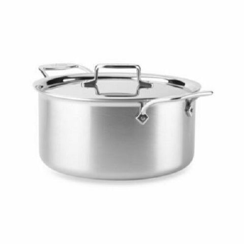 All-Clad BD55508 D5 Brushed 5-Ply Dishwasher Safe 8-qt Stock Pot with Lid