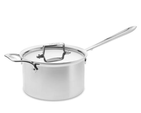 All-Clad D55204 D5 Polished Stainless Steel 5-Ply 4-qt sauce Pan w/Lid