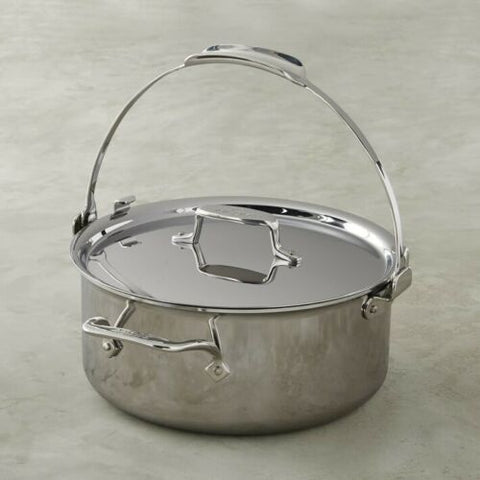 All-Clad D5 Polished 5-Ply Dishwasher Safe 7-qt Pouring Stock Pot with Lid