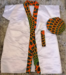 2 Piece Satin Robe With African Print and Reversible Hair Bonnet