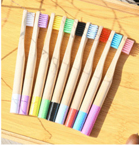 Kids Bamboo Cylinder Handle Toothbrush Oral Care Soft Bristle