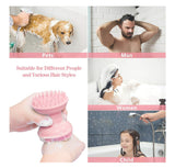 4In1 Silicone Scalp Massager Shampoo Brush With Dispener + Facial Cleansing Brush