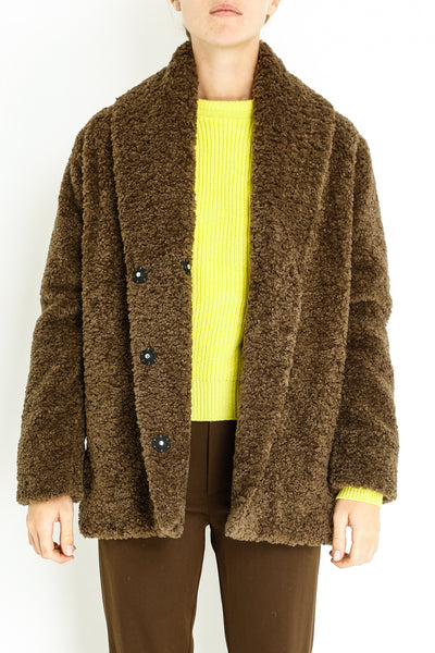 SHEARLING FAUX FUR OVERSIZED SHORT COAT