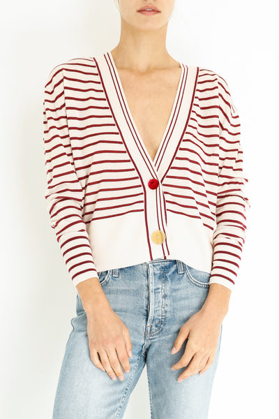 STRIPED MERINO CARDIGAN