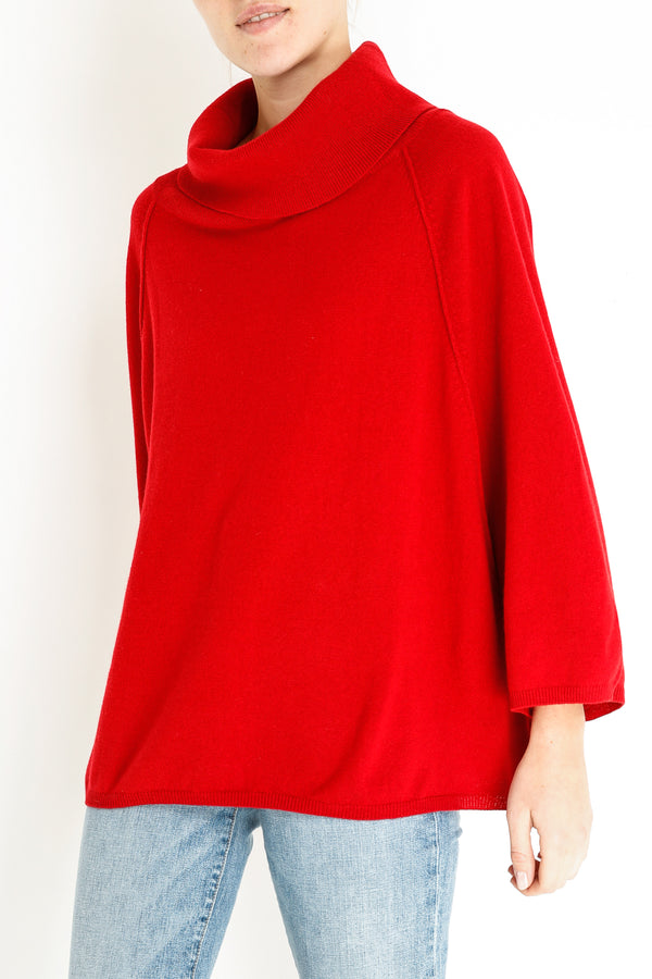 BENTLEY CASHMERE PONCHO - RED