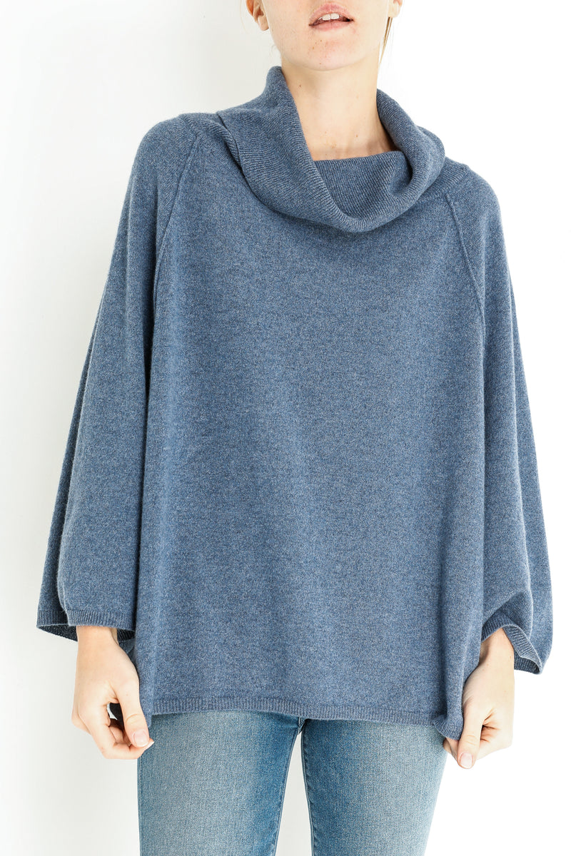 BENTLEY CASHMERE PONCHO - DENIM