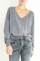 GIRLFRIEND CASHMERE VNECK - FLANNEL