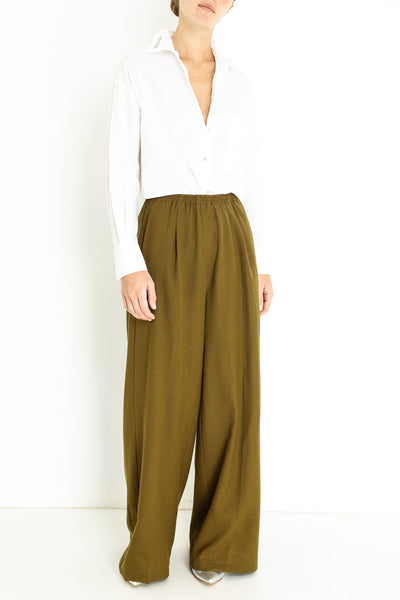 WOOL STRUCTURED WIDE PANTS
