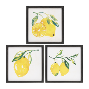 TEXTURED LEMON WALL DECOR (3PC. PPK.) by Ganz
