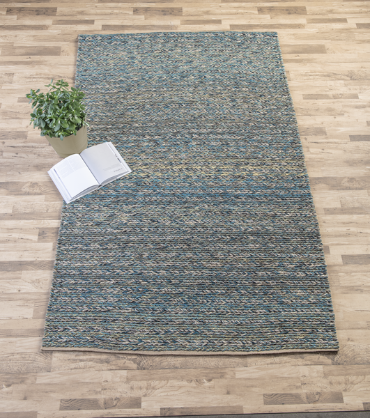 BLUE BRAIDED HAND WOVEN RUG by Ganz