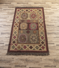 Load image into Gallery viewer, MULTI MEDALLION KILIM RUG by Ganz