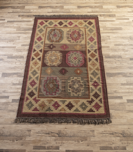 Ganz Red Multi Medallion 5' x 8' Kilim Rug 168240