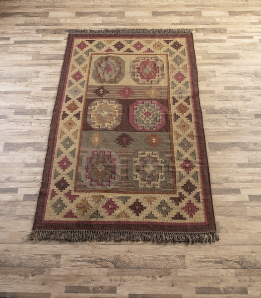 MULTI MEDALLION KILIM RUG by Ganz