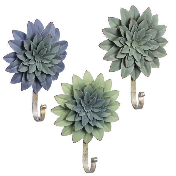 LAYERED SUCCULENT WALL HOOK (3 pc) by Ganz
