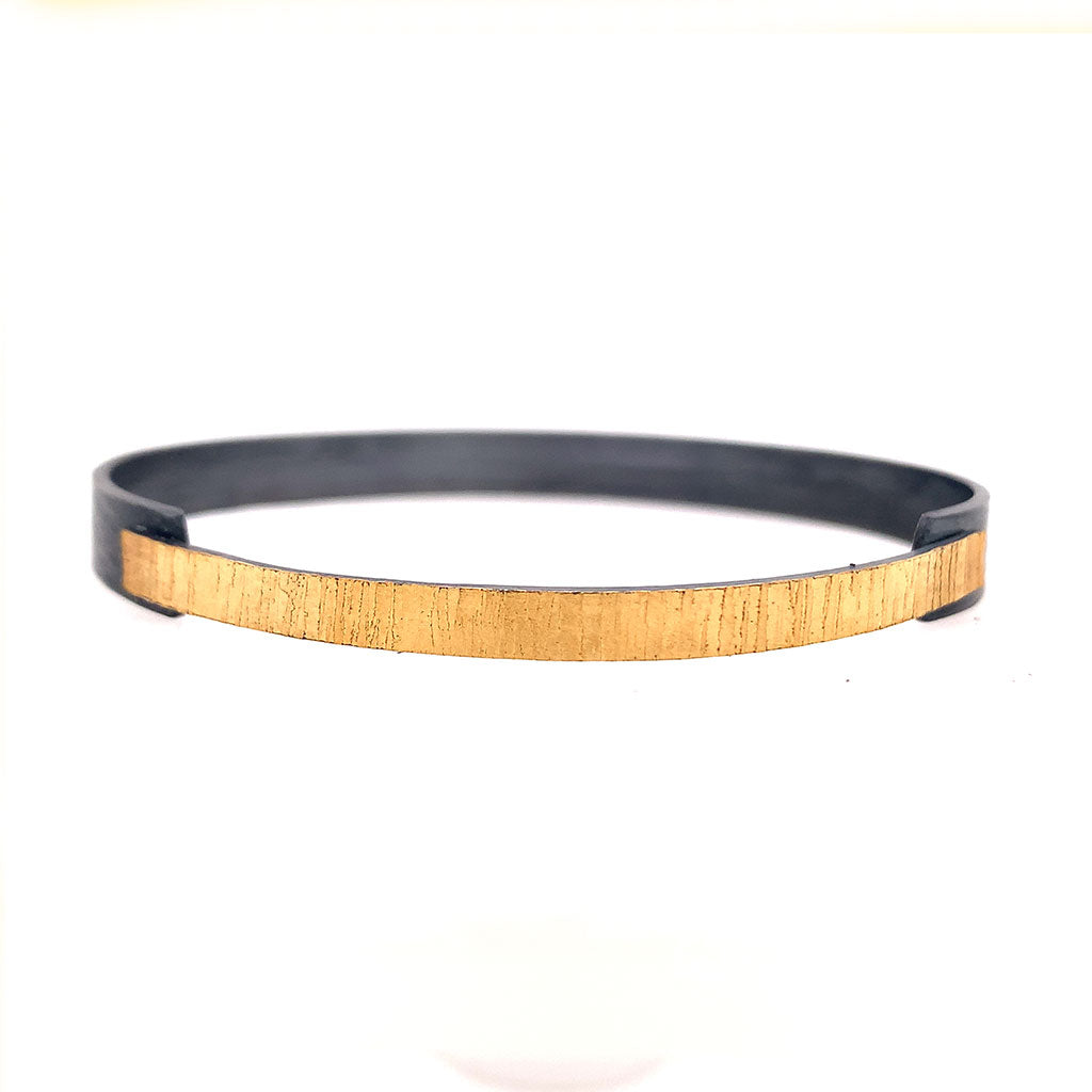 22k Bi-Metal Overlapping bangle skinny B415