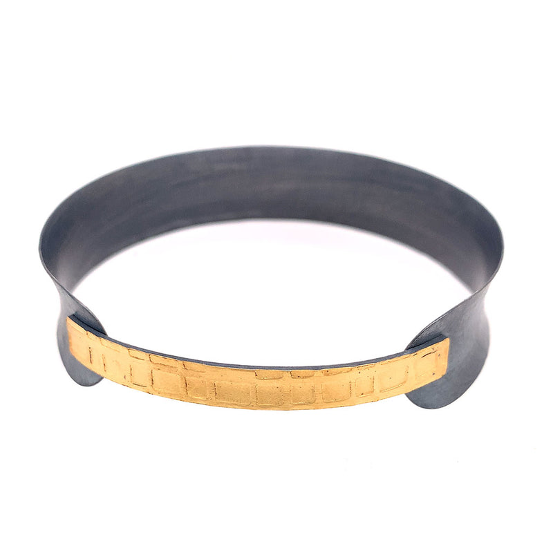 22k Bi-Metal Overlapping bangle B416