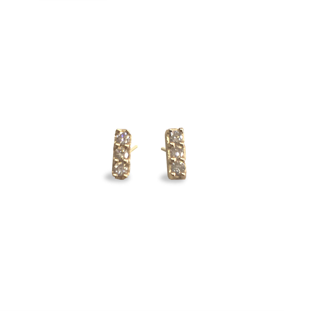 3 Diamond 14K Post earrings (E1509) - DanaReedDesigns