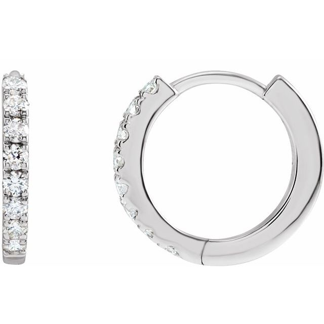 Mini 12mm 14K Diamond Huggie Earrings (RE1846)