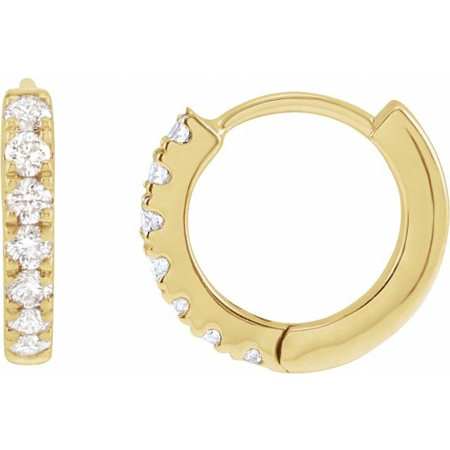 Mini 10mm 14K Diamond Huggie Earrings (RE1845)