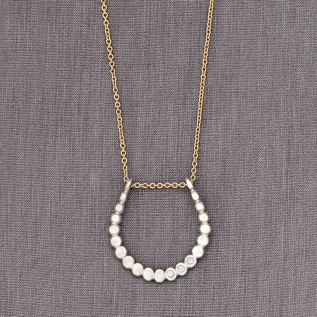 Diamond Beaded Horseshoe Necklace (N1131d) - DanaReedDesigns