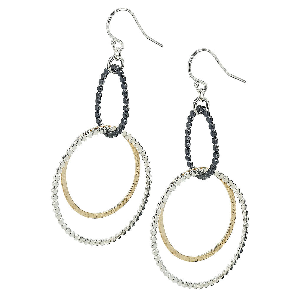Double Bead Gauze hoop Earrings (E1253) - DanaReedDesigns