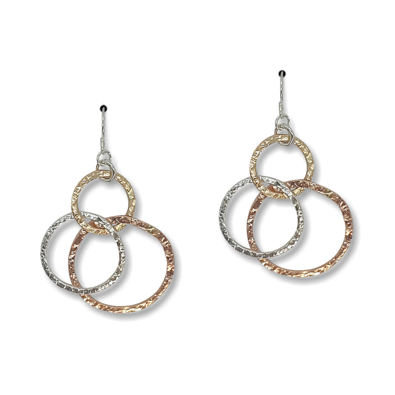 Tri Textured Hoop Earrings (E1412) - DanaReedDesigns