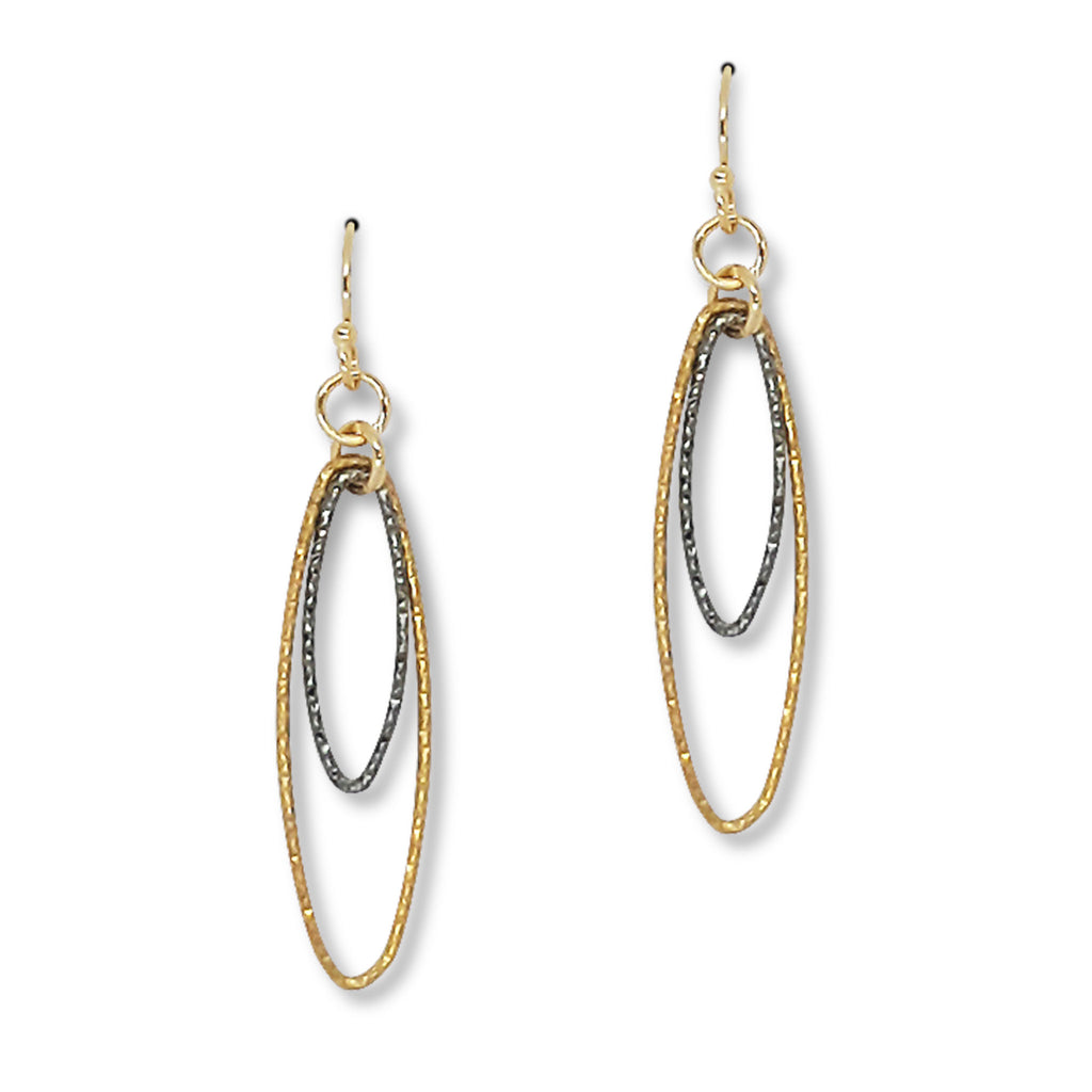 Diamond Cut Concentric Ovals Earrings (E1501) - DanaReedDesigns