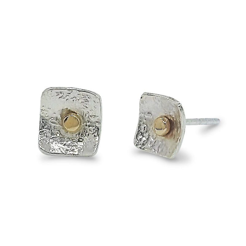Small Square Post Earrings with 14K Gold Dot - E1506 - DanaReedDesigns
