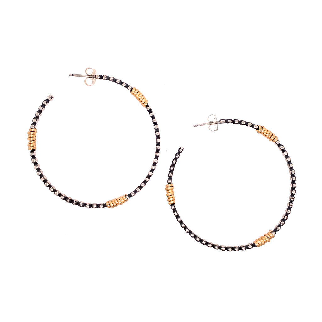 Large Front Facing Bead Hoop with Wraps Earrings (E1649) - DanaReedDesigns