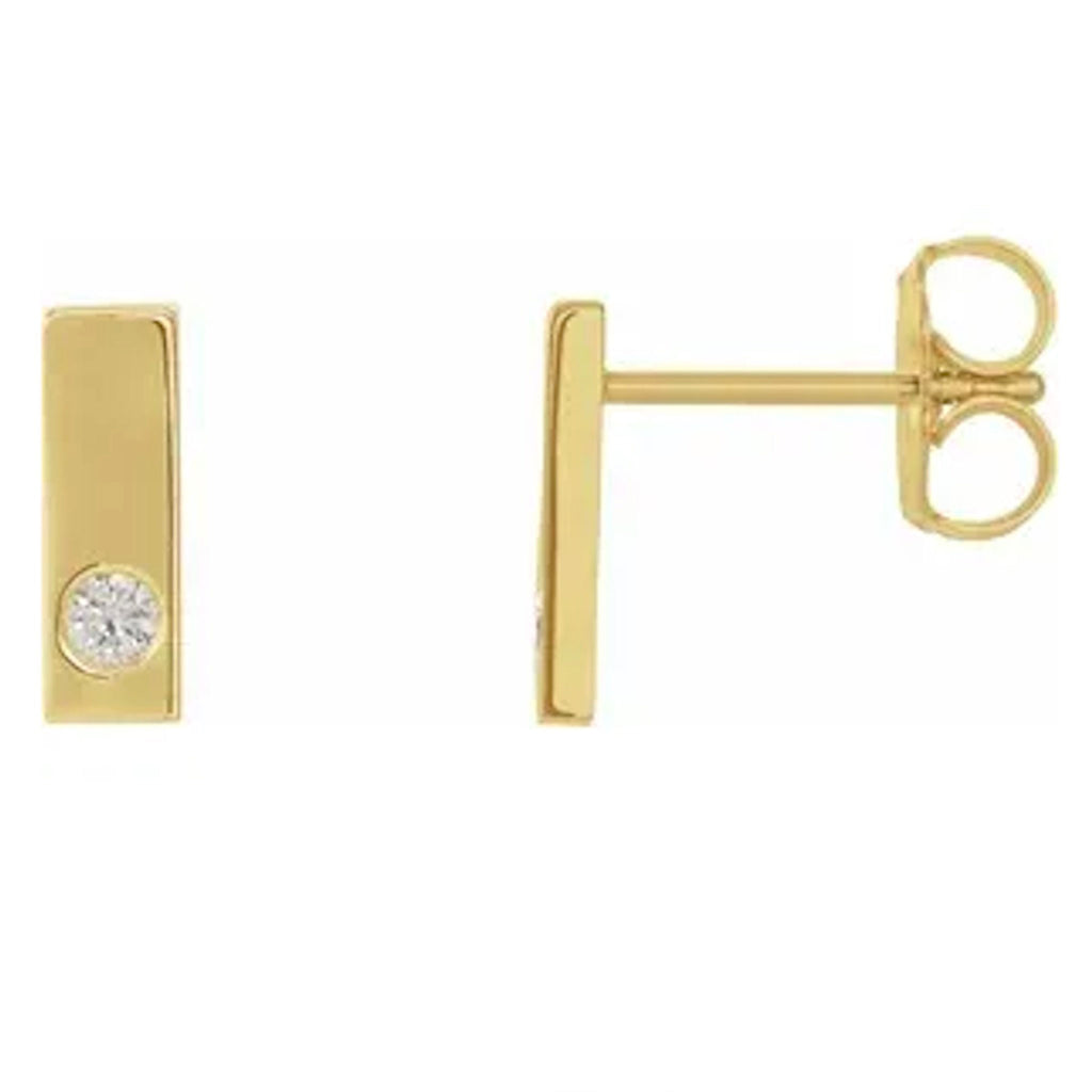 14k Diamond Bar Studs (E1701KY) - DanaReedDesigns