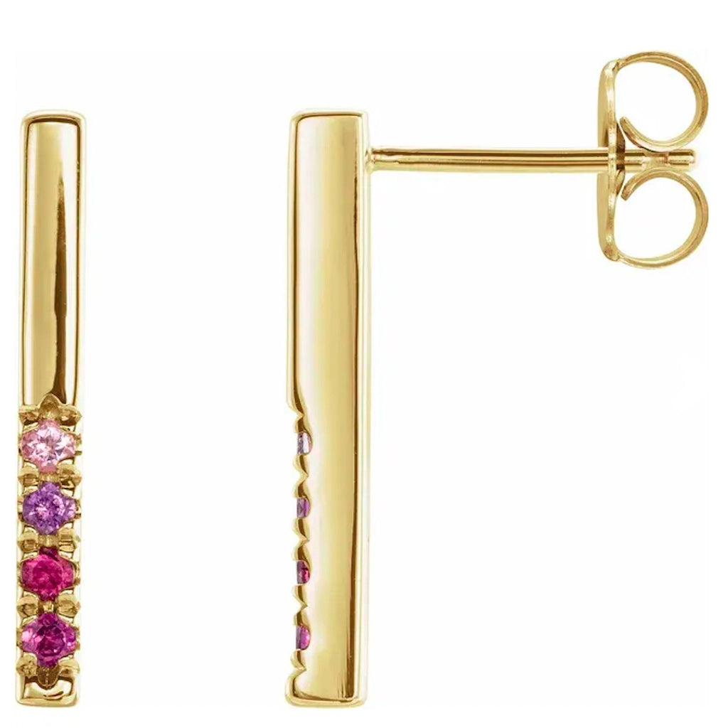 14K Pink Gemstone French-Set Bar Earrings (E1736) - DanaReedDesigns