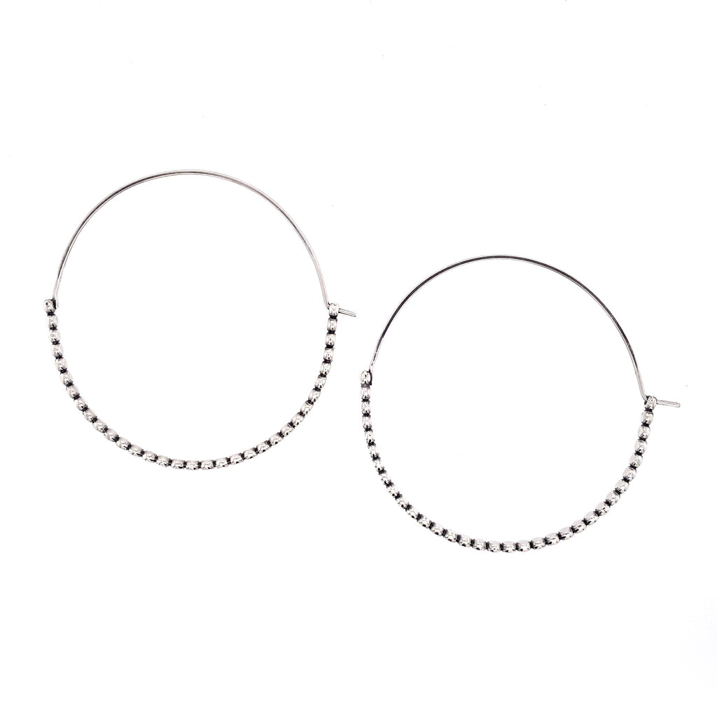 Large Half Bead Hoop Earrings (E1761) - DanaReedDesigns