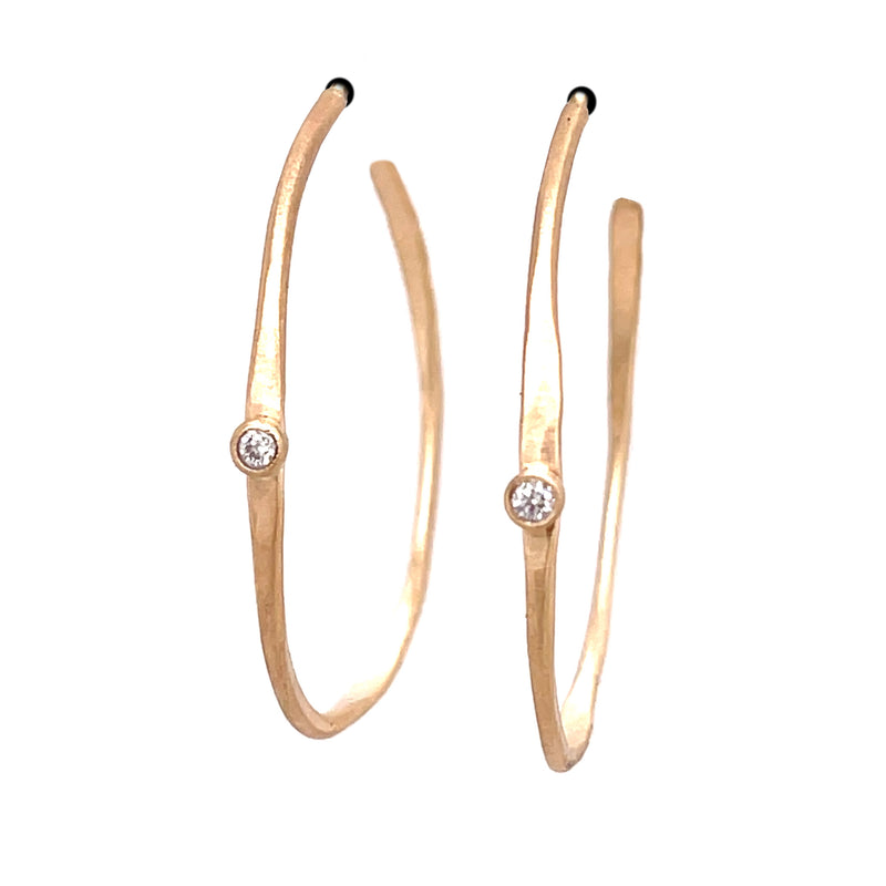 Wavy 14k hoops with diamonds E1820KY